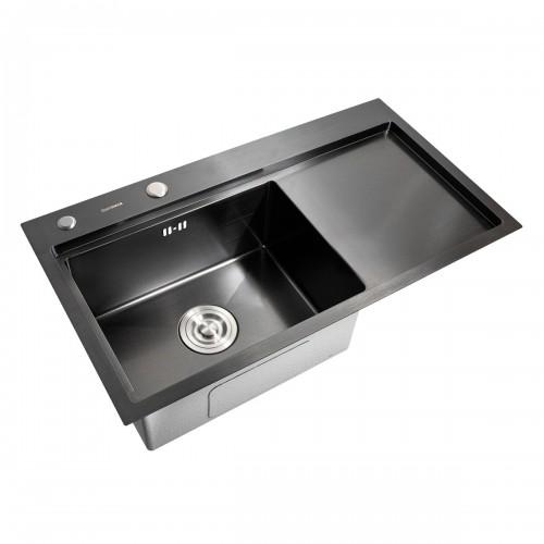 Мойка Platinum Handmade PVD черная 78*43/220 R (толщина 3,0/1,5 корзина и дозатор в комплекте)