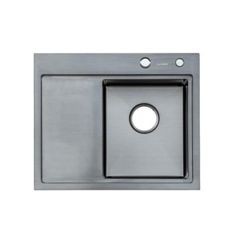 Мойка Platinum Handmade PVD черная 58 * 48/220 R (толщина 3,0 / 1,5 корзина и дозатор в комплекте)